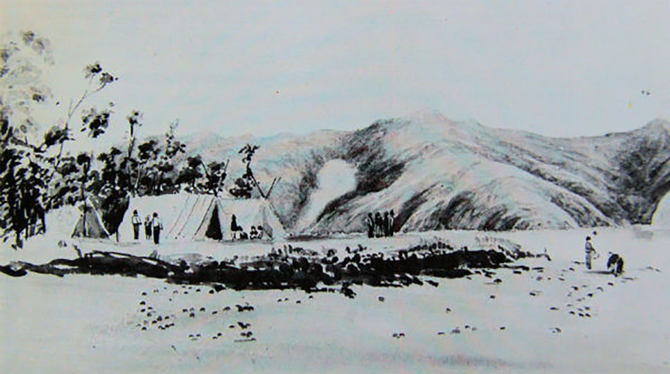 The first encampment at Akaroa circa 1840